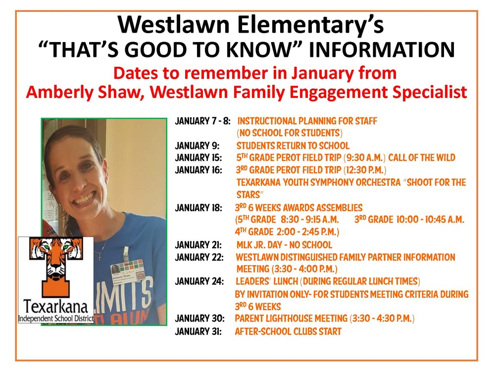 Westlawn Elementary January 2019 Information