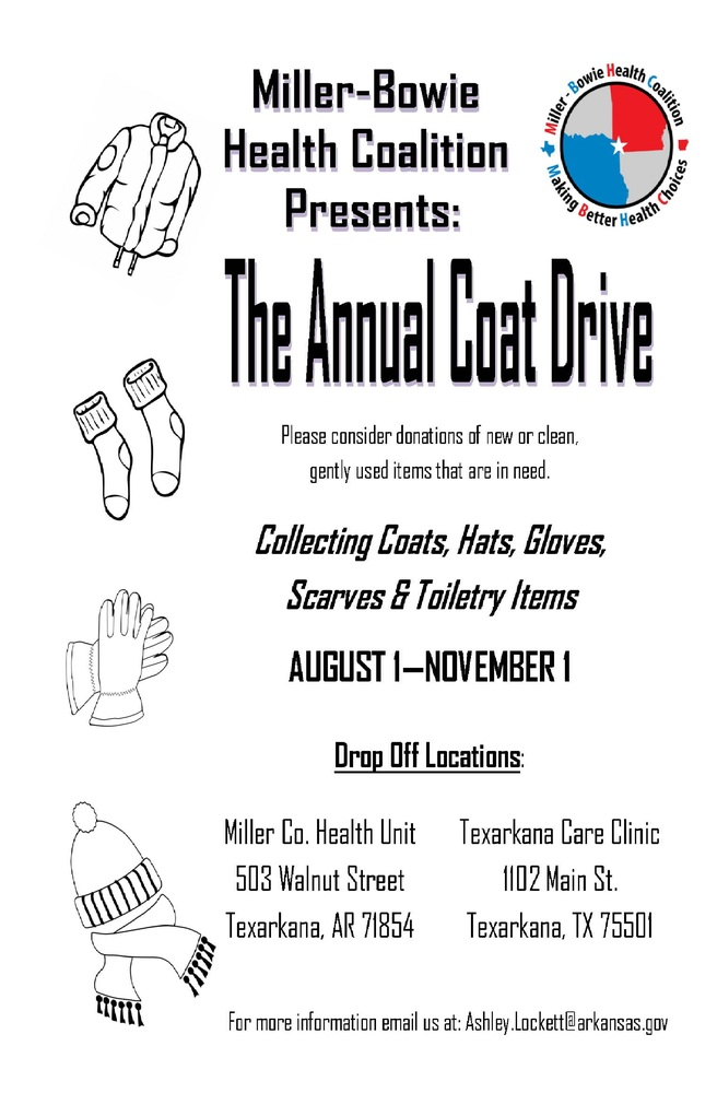 Coat Drive 8-1 to 11-1, all info listed below